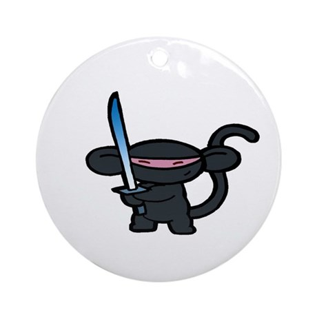Black Minky with Shiny Sword Ornament (Round)