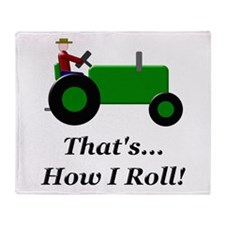 Green Tractor How I Roll Throw Blanket