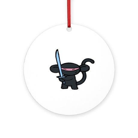 Black Ninja Minky Ornament (Round)