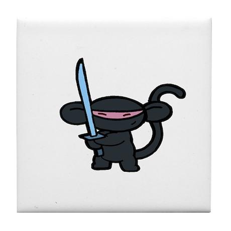 Black Ninja Minky Tile Coaster