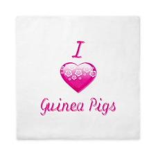I Love/Heart Guinea Pigs Queen Duvet