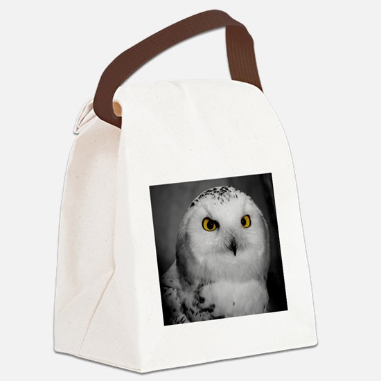Cute Snowy owl Canvas Lunch Bag