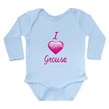 I Love/Heart Grouse Long Sleeve Infant Bodysuit
