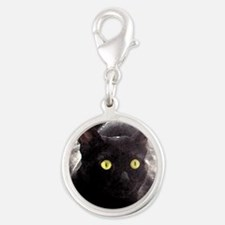 Black Cats Watercolor Silver Round Charm