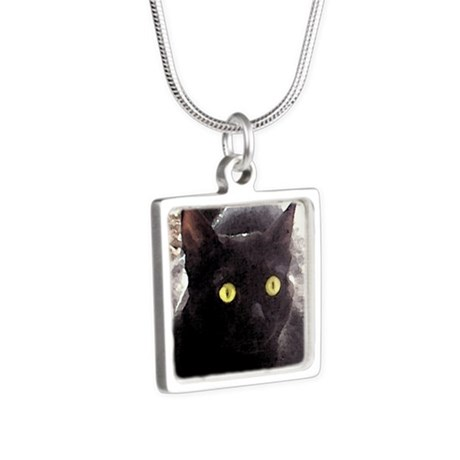 Black Cats Watercolor Silver Square Necklace