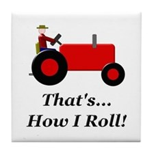 Red Tractor How I Roll Tile Coaster