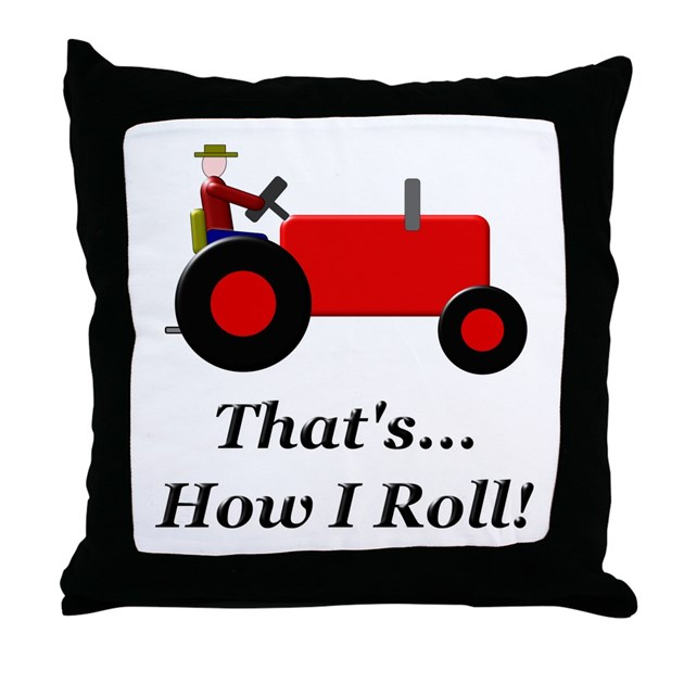 Throw Pillow Roll : Red Tractor How I Roll Throw Pillow by niftywares