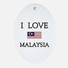 I Love Malaysia Oval Ornament