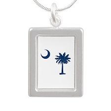 Palmetto & Crescent Moon Silver Portrait Necklace