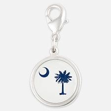 Palmetto & Crescent Moon Silver Round Charm