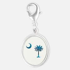 Palmetto & Crescent Moon Silver Oval Charm