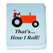 Orange Tractor How I Roll baby blanket