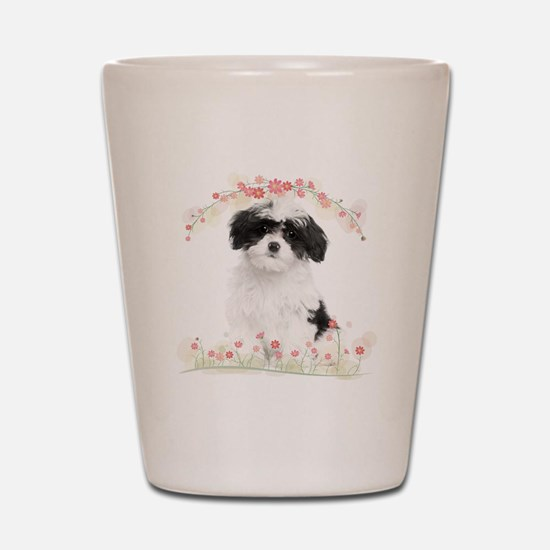 Havanese Flowers Shot Glass