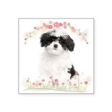 "Havanese Flowers Square Sticker 3"" x 3"""