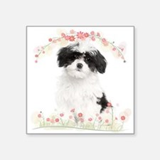 "Havanese Flowers Square Sticker 3"" x 3"""