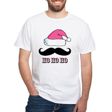 Mustache Santa Pink White T-Shirt