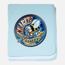 USN Seabees We Build We Fight Blue baby blanket