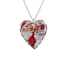 Vintage Santa Necklace Heart Charm