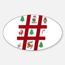 Tic-Tac-Toe Christmas Sticker (Oval)