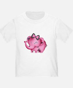 cute hearts pink elephant T