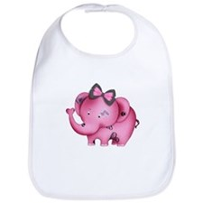 cute hearts pink elephant Bib