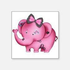 "cute hearts pink elephant Square Sticker 3"" x 3"""