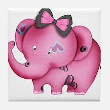 cute hearts pink elephant Tile Coaster