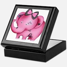cute hearts pink elephant Keepsake Box