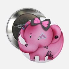 """cute hearts pink elephant 2.25"""" Button"""