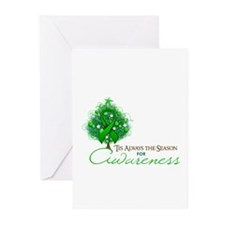 Green Ribbon Xmas Tree Greeting Cards (Pk of 20)