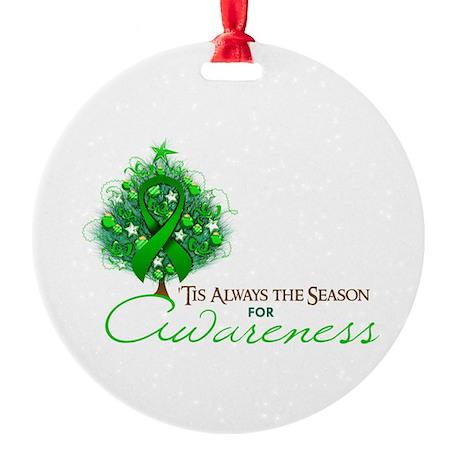 Green Ribbon Xmas Tree Round Ornament