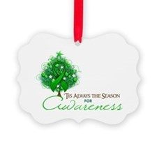 Green Ribbon Xmas Tree Picture Ornament