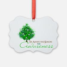 Green Ribbon Xmas Tree Picture Ornament
