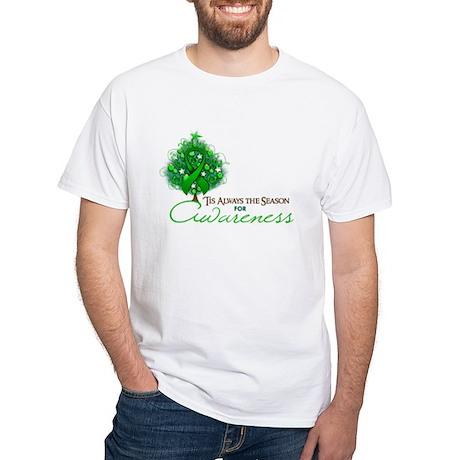 Green Ribbon Xmas Tree White T-Shirt