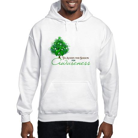 Green Ribbon Xmas Tree Hooded Sweatshirt
