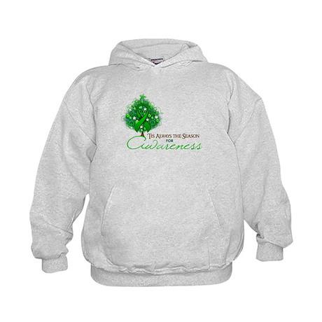 Green Ribbon Xmas Tree Kids Hoodie