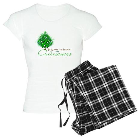 Green Ribbon Xmas Tree Women's Light Pajamas