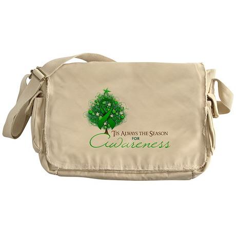 Green Ribbon Xmas Tree Messenger Bag