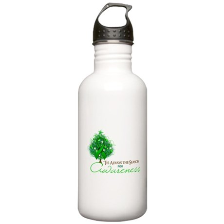 Green Ribbon Xmas Tree Stainless Water Bottle 1.0L