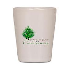 Green Ribbon Xmas Tree Shot Glass