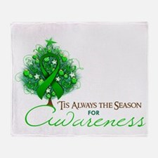 Green Ribbon Xmas Tree Throw Blanket