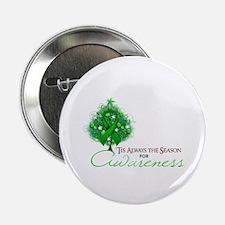 "Green Ribbon Xmas Tree 2.25"" Button"