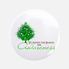 "Green Ribbon Xmas Tree 3.5"" Button"