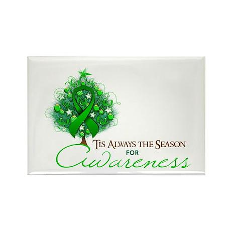 Green Ribbon Xmas Tree Rectangle Magnet (10 pack)