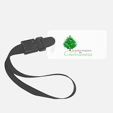 Green Ribbon Xmas Tree Luggage Tag