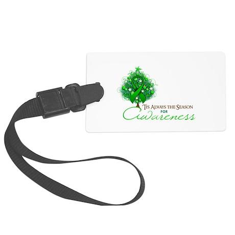 Green Ribbon Xmas Tree Large Luggage Tag