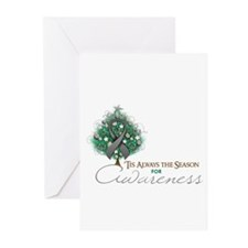 Gray Ribbon Xmas Tree Greeting Cards (Pk of 10)