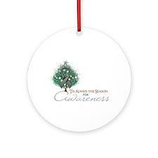 Gray Ribbon Xmas Tree Ornament (Round)