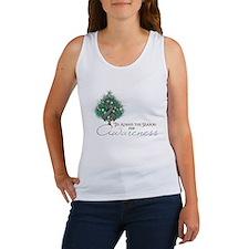 Gray Ribbon Xmas Tree Women's Tank Top