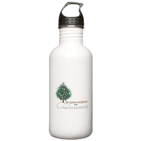 Gray Ribbon Xmas Tree Stainless Water Bottle 1.0L